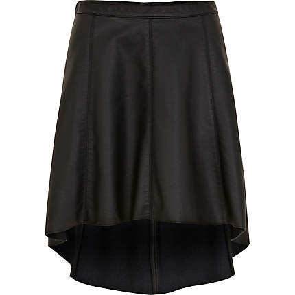 Black leather look dip hem skirt - skirts - sale - women