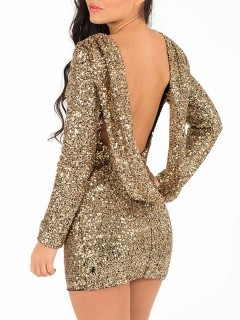 Luxurious golden sequin backless party dress