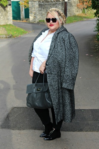 shirt grey coat plus size interview outfit curvy plus size white shirt pants black pants plus size shirt coat plus size coat boots ankle boots sunglasses