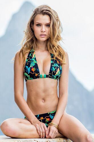 swimwear bikini brazilian d-cup dd halter top print womens sauvage bikiniluxe