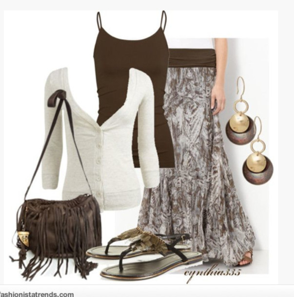 skirt top shirt sweater light sweater cardigan three-quarter sleeves ivory low cut button up button up cardigan tank top camisole spaghetti strap brown form fitting maxi skirt pattern patterned skirt flowy skirt earrings filled bag clothes outfit sandals t-shirt jacket