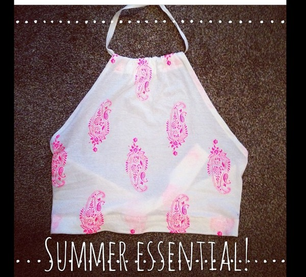 t-shirt halter neck top halter neck crop tops spaghetti strap pink and white summer top blouse
