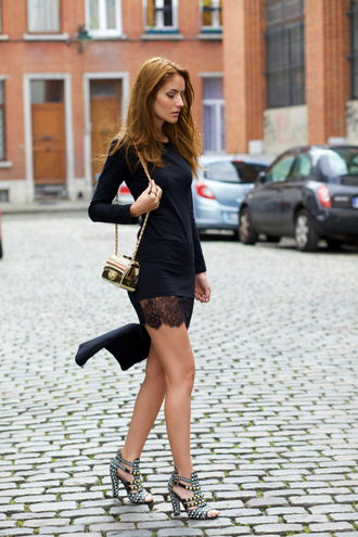 from brussels with love blogger lace dress long sleeve dress little black dress gold party shoes