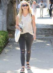 jeans,top,julianne hough,sandals,sunglasses,grey jeans,skinny jeans