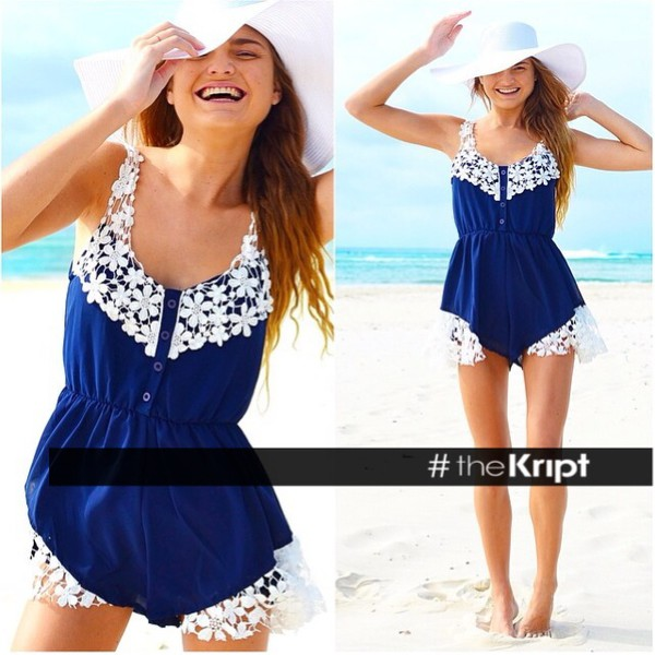 blue dress romper jumpsuit lace black white blue dress