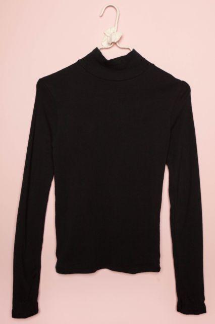 dd13416a1c brandy melville black ribbed long sleeve cotton kendra turtleneck top NWT |  eBay