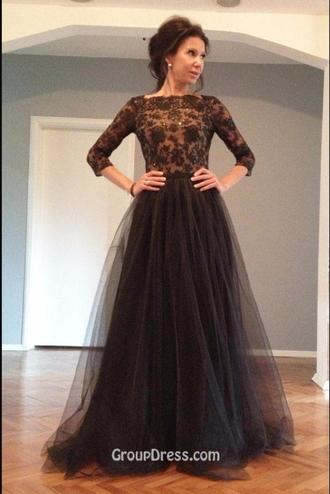 dress black dress tulle skirt lace top open back