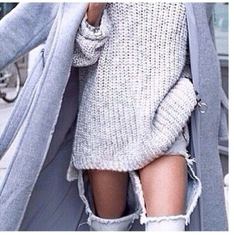 blouse grey knit jeans coat grey coat long coat winter coat heavy knit jumper top jumper high neck sweater knittedgirl sweater tumblr pul clothes large colorful winter outfits