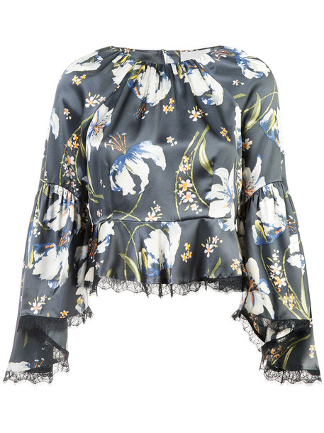 Cinq a Sept blouse women floral print silk grey top
