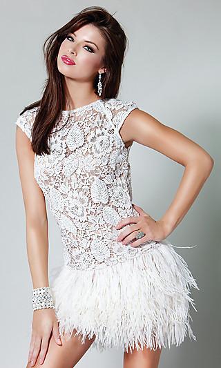 Shop: short illusion lace & feather dress by jovani
