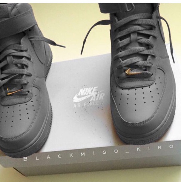 shoes grey nike high top sneakers nike air force 1 black sneakers nike  shoes nike air eda1f537b