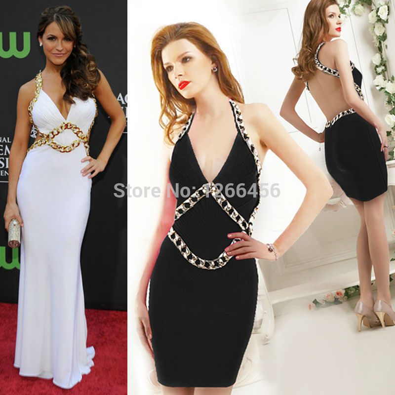 Aliexpress.com : Buy 2014 New Sexy Black Deep V Neck Cross Party Dress Gold Metal Chain Halter Backless Bandage Dress H969 from Reliable dress career suppliers on Lady Go Fashion Shop