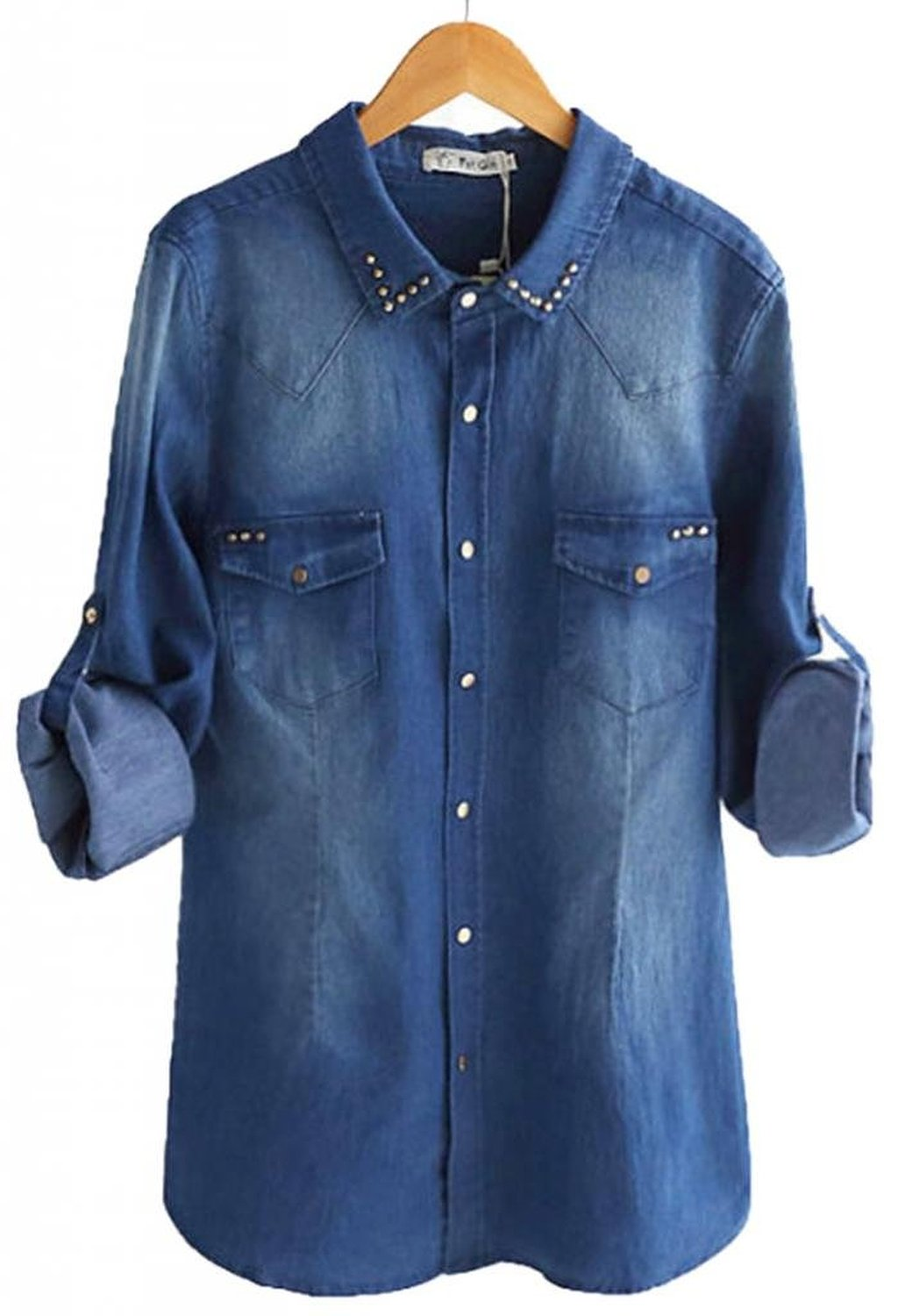 Women's washed rivet denim blouse plus size at amazon women's clothing store: