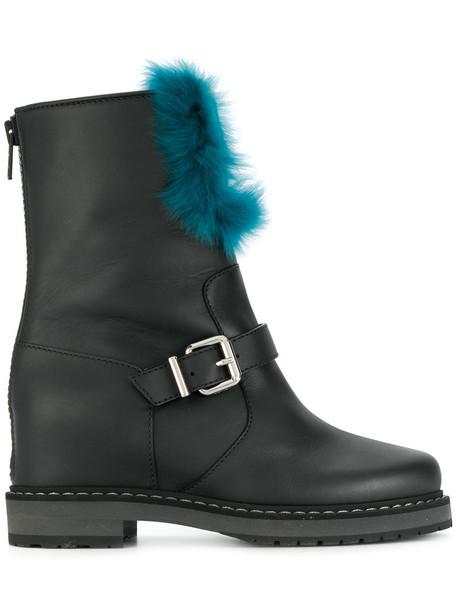 Fendi fur boots fur women leather black velvet shoes