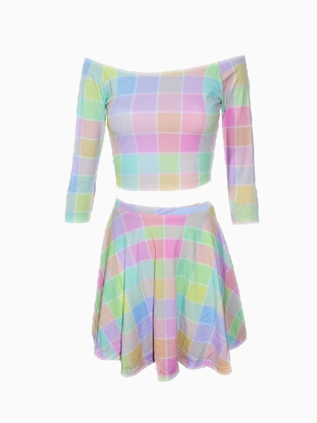 Multicolour Grid Boat Neck Top With Skirt | Choies