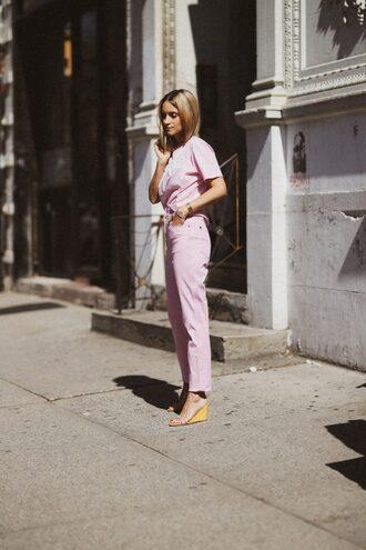 pants shirt pink pants sandals platform sandals bag