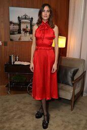 dress,red dress,midi dress,celebrity,platform shoes,alexa chung,blogger