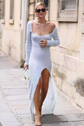 dress,pastel,slit dress,knitted dress,knitwear,fashion week,streetstyle,chiara ferragni