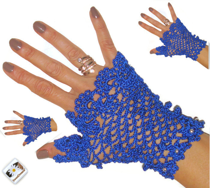 Blue fingerless gloves, fingerless mittens, lace fingerless,crochet gloves fingerless, new year's gift, women accessories,winter accessories
