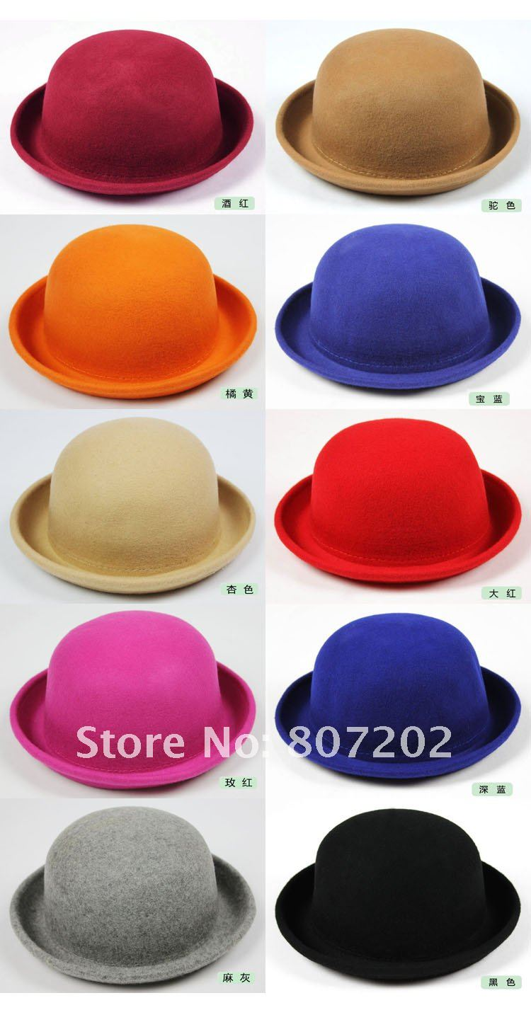 71e0102bea6 High Quality derby hat cap Wholesale Ladies 100% Wool Fedora Hat   Solid  Color Round Top ...