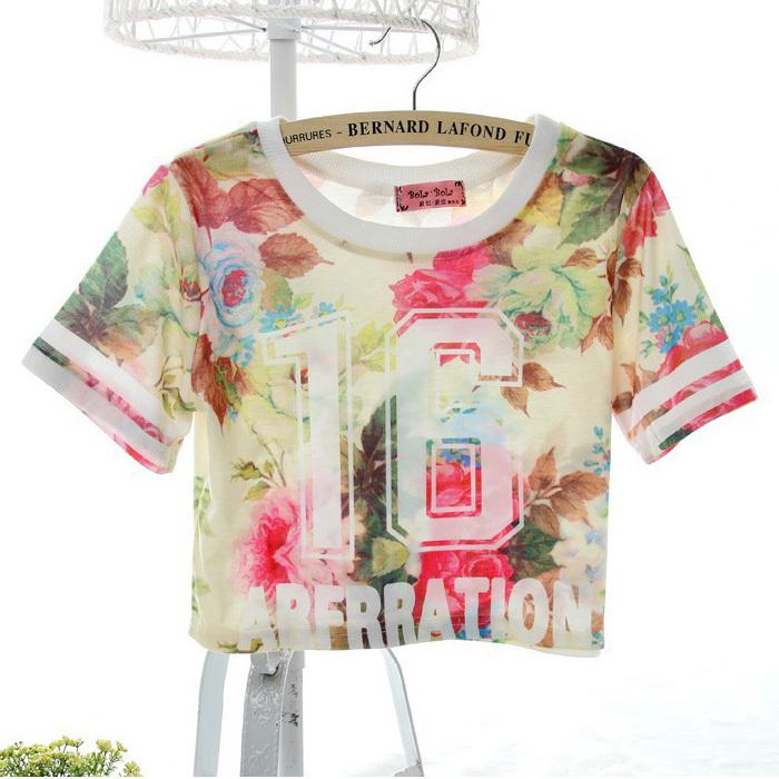 Plus size 2015 floral print modal o neck loose causal short sleeve summer women chiffon t shirt shirts crop top sv20 sv006150