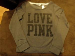 "Victoria's secret pink crew neck sweat shirt ""love pink"" dark grey gray new"
