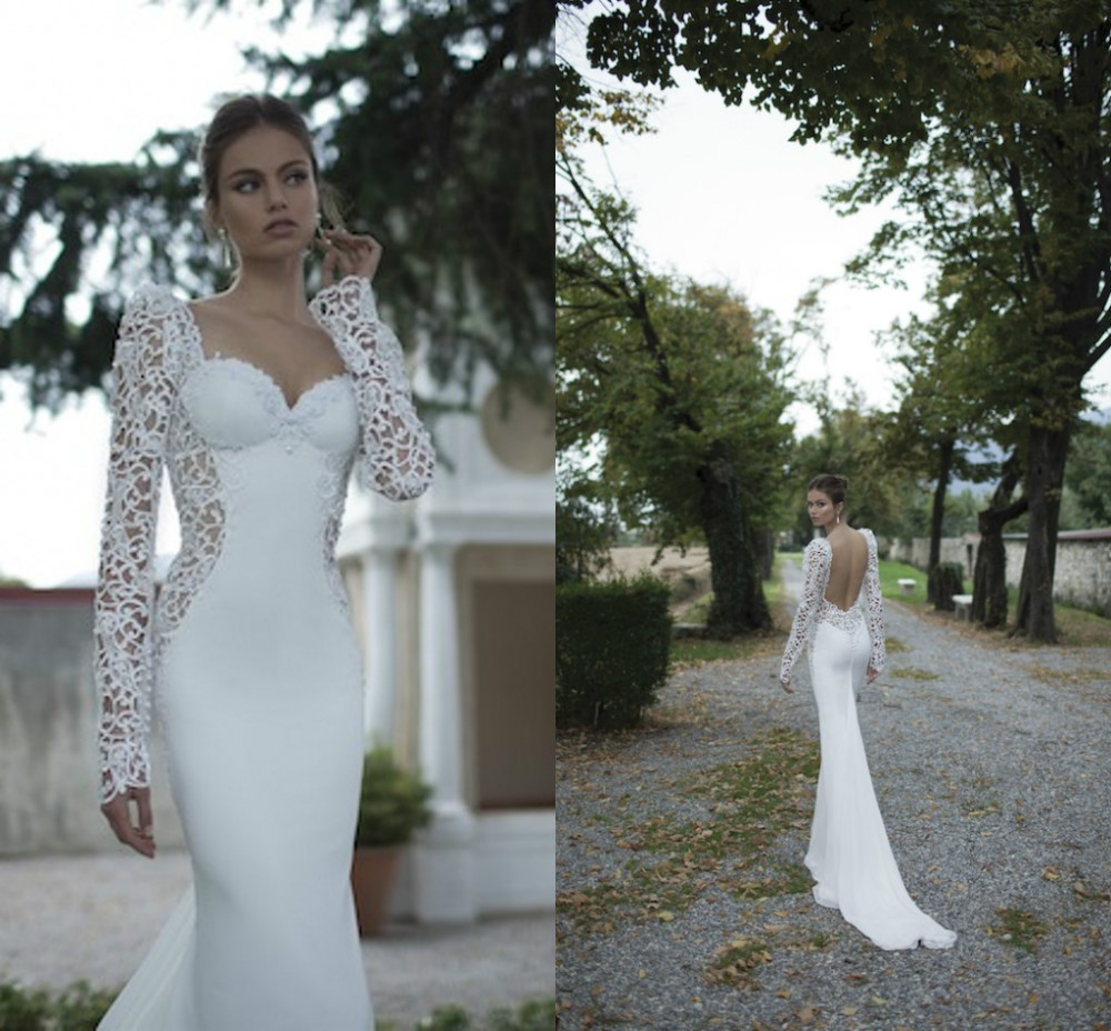 Hollow Lace Long Sleeve Wedding Dresses Backless Berta Winter 2014 Sweetheart Pearls Beading Mermaid Wedding Bridal Dresses Gown-in Wedding Dresses from Apparel & Accessories on Aliexpress.com