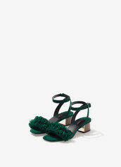 shoes,sandals,heels,mid heel sandals,green shoes,fringe shoes