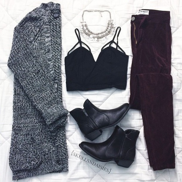 top shirt crop tops bralette black crop top black top cute top grunge outfit cardigan pants