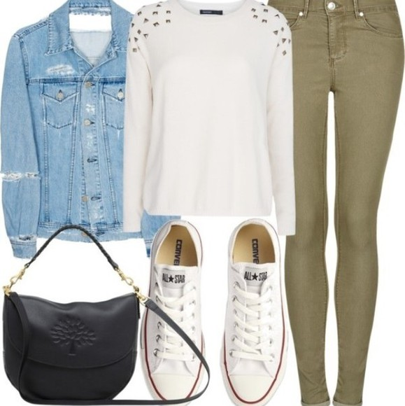 white sweater denim jacket denim jacket olive pants olive black bag black purse purse white converse converse