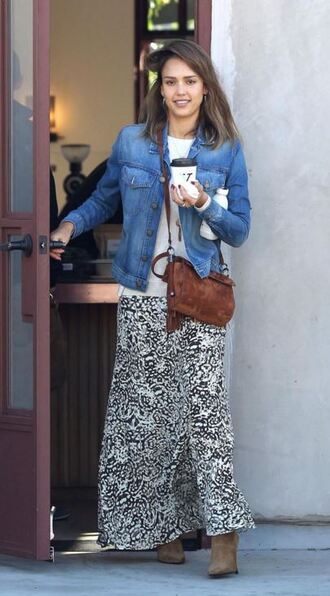 jacket denim jacket fall outfits skirt maxi skirt jessica alba boots fall jacket