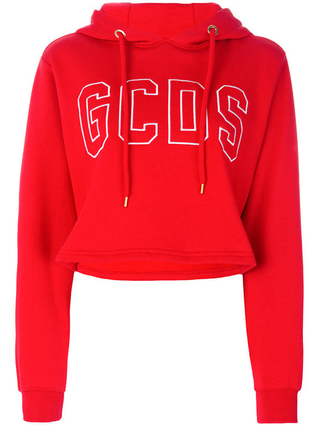 GCDS hoodie cropped hoodie cropped women cotton red sweater