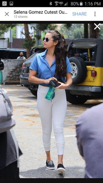 leggings selena gomez white leggings jeans white selena gomez shirt