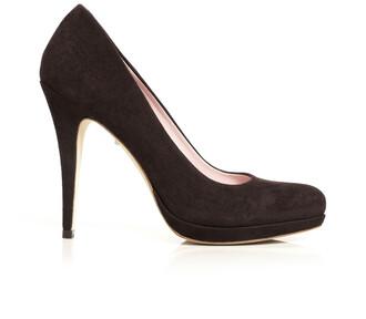shoes pumps high heels chocolate suede brown