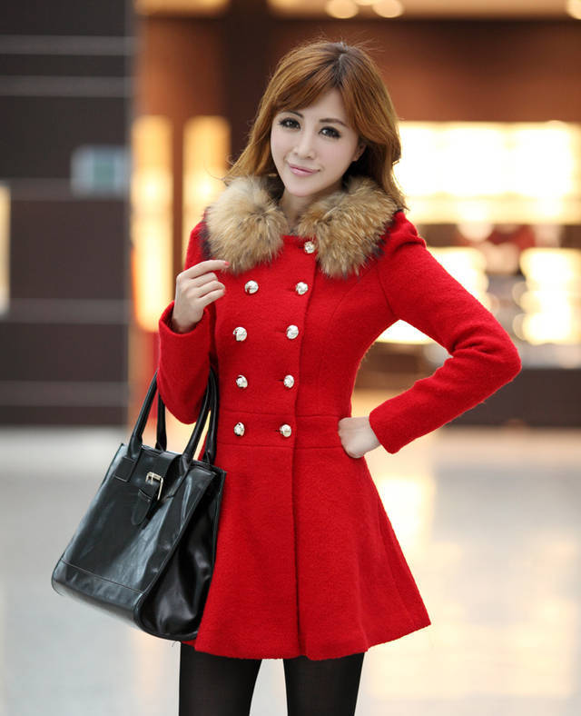 Woman Autumn&Winter New Coat Woollen Coat Korean Style Medium style Wool collar double breasted Lady Coat F082 free shipping-in Wool & Blends from Apparel & Accessories on Aliexpress.com