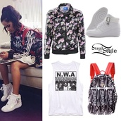 jacket,becky g,t-shirt,bag,shoes,adidas jacket,adidas,floral jacket,high top sneakers,nike,backpack,coca cola,tank top,white tank top
