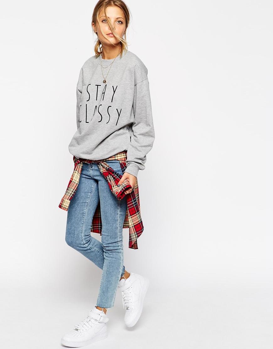 Asos boyfriend sweatshirt with stay classy print at asos.com