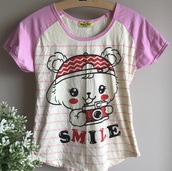 shirt,pink,kawaii,bear,camera,fairy kei,stripes,cute