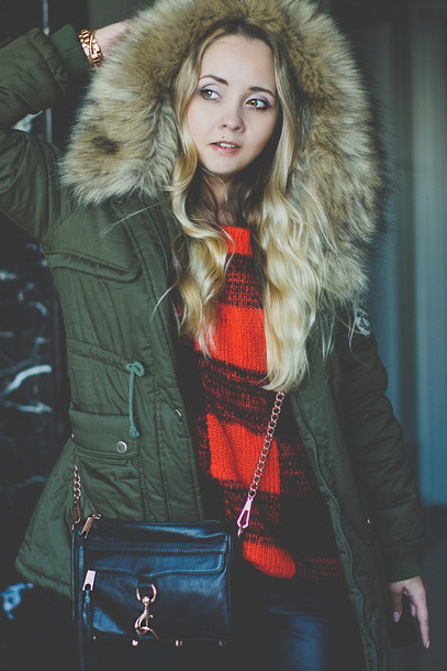 my blonde gal coat jacket bag sweater jewels shoes