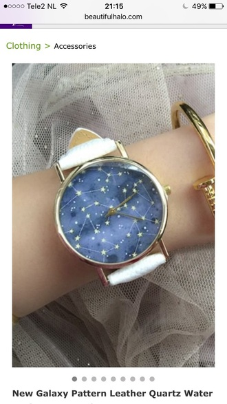 jewels watch galaxy print fashion style gold teenagers stars cool trendy beautifulhalo