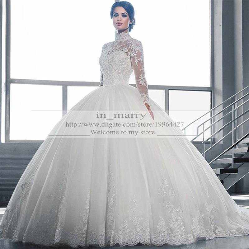 Victorian Arabic Long Sleeves Ball Gown Wedding Dresses Princess Style 2015 Plus Size Muslim