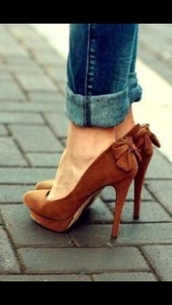 shoes,high heels,brown leather heels,bow high heels,pink bow cute  short