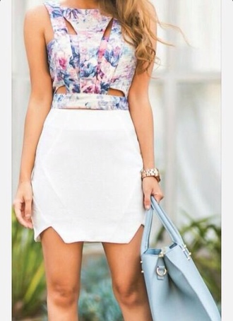 top multi colored crop tops cutout top purple outfit skirt bag jewels
