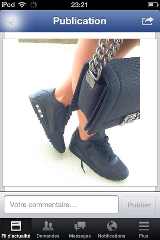 boots bag chanel bag black bag chanel air max free runs trainers sneakers nike black pink metal hardware chain celebrity heels shoes.