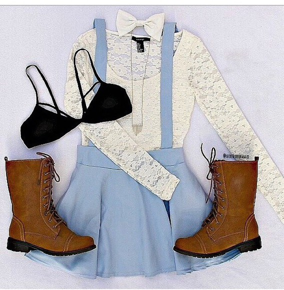 skirt top lace dress fashion blouse boots white