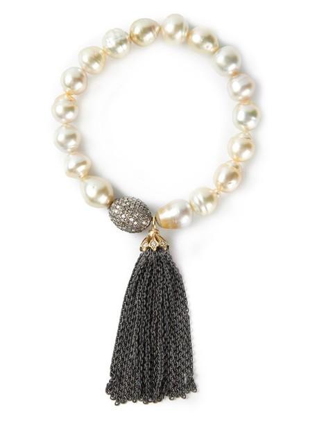 Loree Rodkin tassel women pearl gold grey metallic jewels