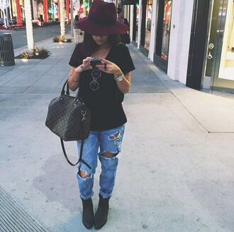 jeans fall outfits cute ripped jeans blue jeans t-shirt black tee fedora burgundy hat burgendy lv bag watch glasses black t-shirt louis vuitton shirt shoes bag hat jewels