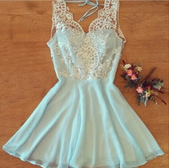 dress blue dress lace dress vintige lightblue dress