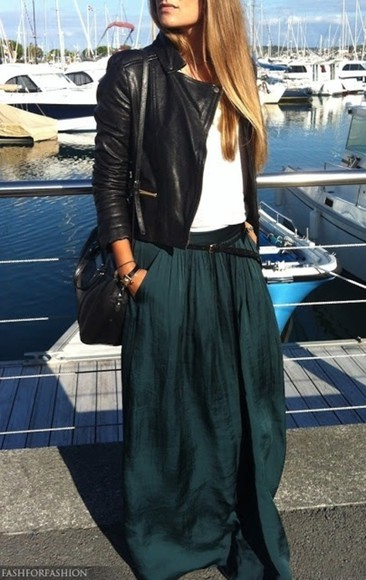 skirt black blonde teal belt maxiskirt teel leather jacket