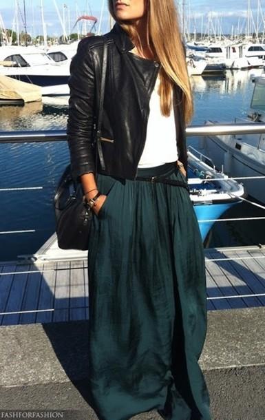 skirt belt hair maxi skirt black teal teel
